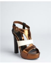 Gucci Bronze Colorblock Leather 'Andie' Platform Sandals - Lyst