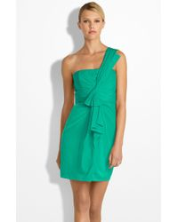 BCBGMAXAZRIA Drape Front One Shoulder Satin Dress green - Lyst