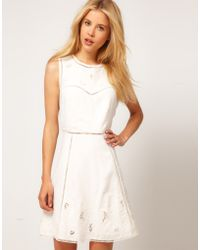 ASOS - Asos Mini Dress with Embroidered Cut Outs - Lyst