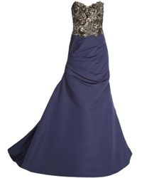 Monique Lhuillier Strapless Gown - Lyst