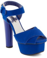 ModCloth Just Got Heel in Cobalt - Lyst
