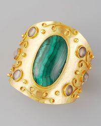 Stephanie Anne Malachite Cuff gold - Lyst