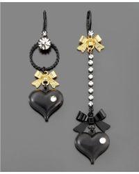 Betsey Johnson Asymmetrical Black Heart Drop Earrings - Lyst