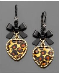 Betsey Johnson Leopard Heart Bow Drop Earrings - Lyst