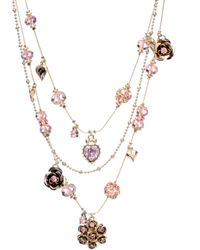 Betsey Johnson Pink Crystal Illusion Necklace - Lyst