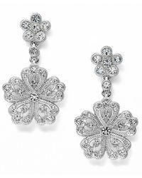 Eci Crystal Flower Drop Earrings - Lyst