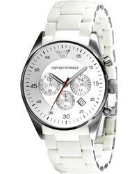 Emporio Armani Men'S Chronograph White Silcone And Stainless Steel Bracelet Ar5859 - Lyst