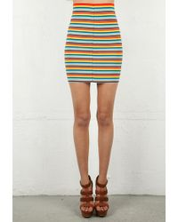 Pleasure Doing Business Pleasure Doing Business 11 Band Striped Skirt with Exposed Zipper in Rainbow - Lyst