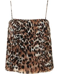 Topshop Leopard Pleat Cami Top - Lyst
