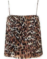 Topshop Leopard Pleat Cami Top animal - Lyst