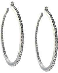 Vince Camuto Large Silver Plated Pave Crystal Hoop Earrings - Lyst
