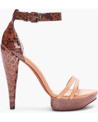 Lanvin Brown Python Skin Heels - Lyst