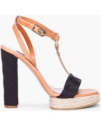 Marc Jacobs Tan Black Tstrap Heels - Lyst
