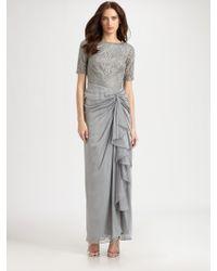 Tadashi Shoji Leaf Lace Gown - Lyst