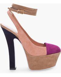 Saint Laurent Suede Purple Toe Obsession Heels - Lyst