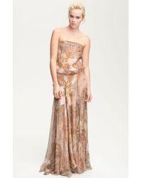 Haute Hippie Strapless Paisley Print Chiffon Maxi Dress - Lyst