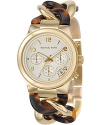 Michael Kors Women'S Chronograph Runway Twist Gold-Tone Stainless Steel And Tortoise Acrylic Bracelet Watch 38Mm Mk4222 - Lyst