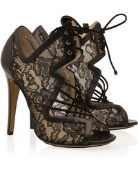 Nicholas Kirkwood Lace & Suede Cage Ankle Boots - Lyst