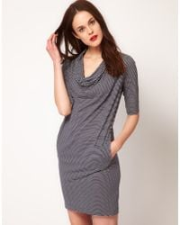 Whistles Whistles Poppy Cowl Neck Jersey Dress in Stripe - Lyst