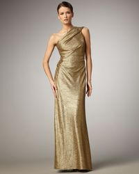 David Meister One-shoulder Metallic Gown - Lyst