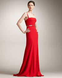 Elie Saab Fitted Crepe Gown red - Lyst