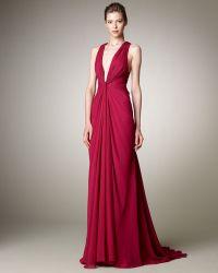 J. Mendel Plunge-neck Chiffon Gown purple - Lyst