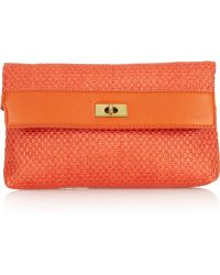 J.Crew Brompton Raffia and Leather Clutch - Lyst