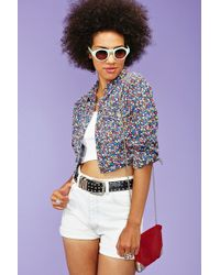 Nasty Gal Hazey Daisy Cropped Jacket blue - Lyst