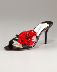 Prada Patent Leather Flower Slide - Lyst
