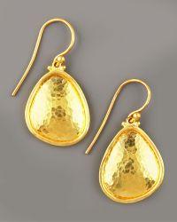Gurhan - Hammered Gold Drop Earrings - Lyst