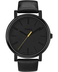 Timex® Womens Originals Easyreader Black Leather Strap 42mm T2n793at - Lyst