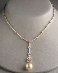 Assael - Golden Pearl & Diamond Necklace - Lyst