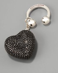 Judith Leiber - Heart N Soul Key Ring, Black - Lyst