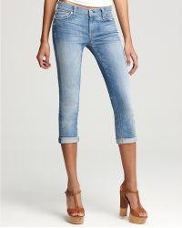 Ash - 7 For All Mankind Jeans Crop and Roll Skinny Jeans in Distressed Del Azul Wash - Lyst