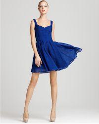 Zac Posen Dress V Neck Pleated Dress - Lyst