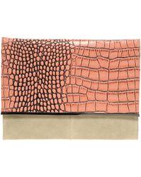 Asos Leather Croc Metal Bar Clutch Bag - Lyst
