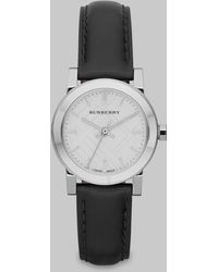 Burberry Check Stamped Stainless Steel Leather Strap Watch - Lyst