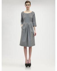 Jil Sander Wool Houndstooth Dress - Lyst