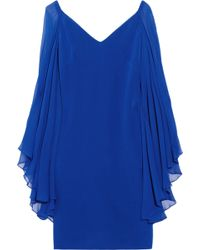 Notte by Marchesa Chiffonsleeved Silk Dress blue - Lyst