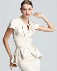 Zac Posen Jacket Short Sleeve with Pleat Detail - Lyst