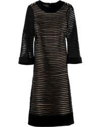 Giulietta - Striped Crepe and Mesh Dress - Lyst