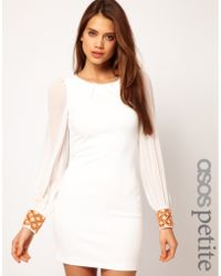 ASOS Collection Asos Petite Exclusive Bodycon Dress with Embellished Cuff beige - Lyst