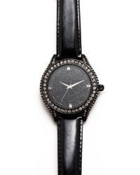 Carolee - Womens Black Shimmer Leather Strap  - Lyst