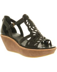 Camper Damas Cut Out Wedge Black Leather - Lyst