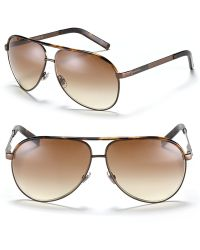 Gucci Chocolate Aviator Sunglasses with Top Bar - Lyst