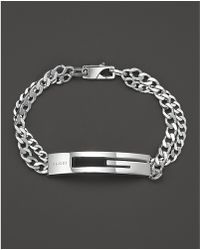 Gucci Sterling Silver Double Chain Bracelet Lyst