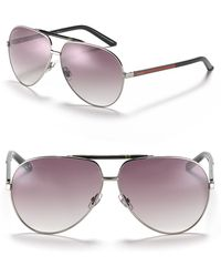 Gucci Logo Bar Aviator Sunglasses - Lyst