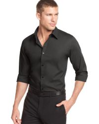 Calvin Klein Core Solid Stretch Shirt black - Lyst
