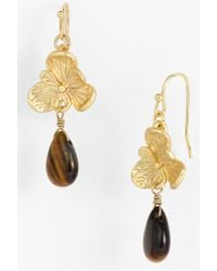Cara Accessories Flower Stone Drop Earrings - Lyst