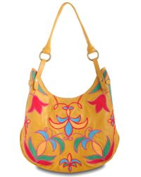 Lucky Brand Leather Crewl Embroidery Hobo - Lyst